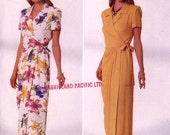 Wrap Dress pattern 90s Jessica Howard wrap dress sewing pattern summer wrap dress Butterick 5031 Sz 12 to 16 Uncut