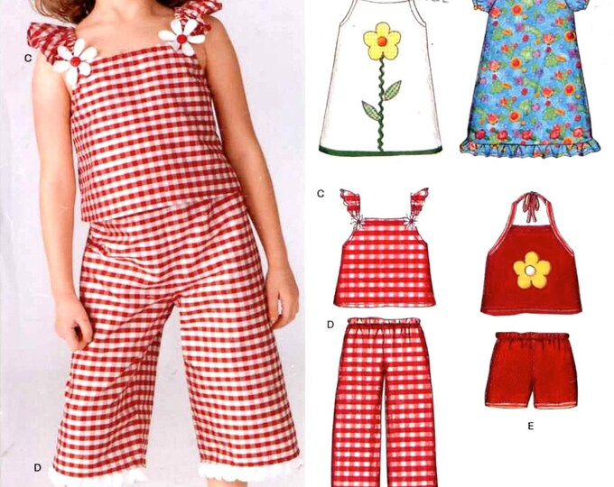 Girls Summer Playsuit dress top pants shorts sewing pattern New Look 6392 Sz 3 to 8