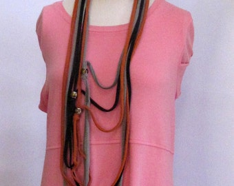 Repurposed/Recycled Unisex Beaded T-Shirt Infinity Scarf/Necklace Handmade by FashionGreenTBags