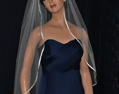 Silk Tulle Bridal Veil with Silk Ribbon Trim Fingertip Length