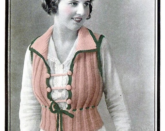 1919 Ribbed Pullover Sweater Vest-  PDF Knitting Pattern Instant Download