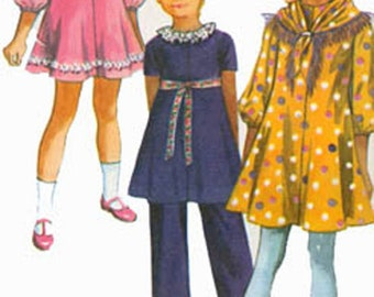 1970s Girls MINI Dress Scarf and Pants Simplicity 9188 Vintage 70s Sewing Pattern Size 12 Bust 25.5
