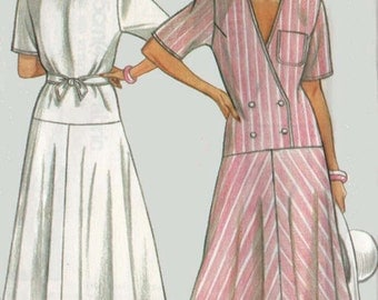 Misses V Neck Dress Short Sleeved OOP Sewing Pattern New Look Pattern 6365 Plus Size 8-18 Bust 31.5-44 UNCUT