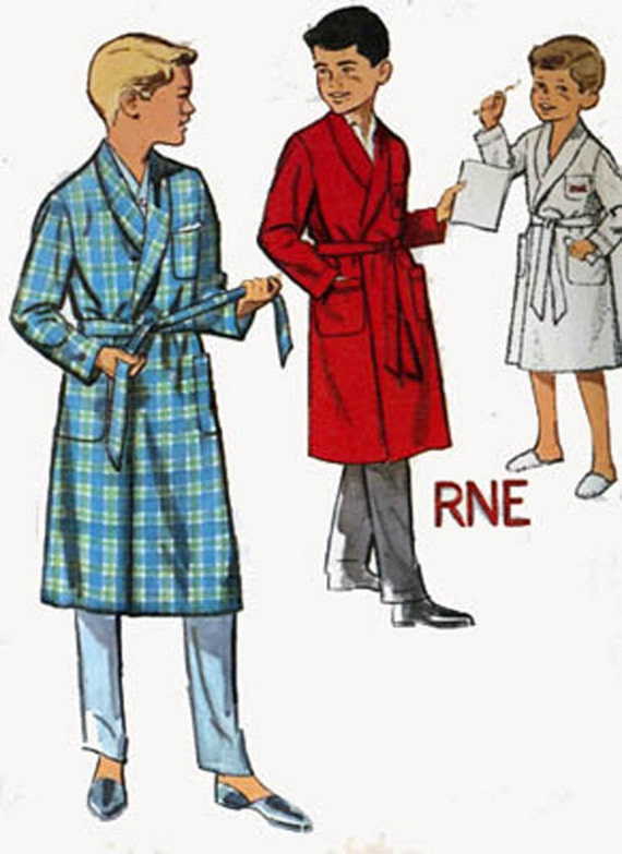 1950s Simplicity 4740 Boys Robe with Alphabet Transfer 50s Vintage Sewing Pattern Size 4