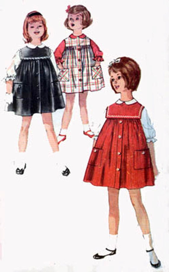 Vintage 60s Sewing Pattern Simplicity 4118 Girls MOD SMOCK Jumper with Blouse Size 5