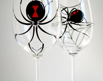 Black Widow Spider Wine Glasses - Set of 2 Hand Painted Halloween Glasses