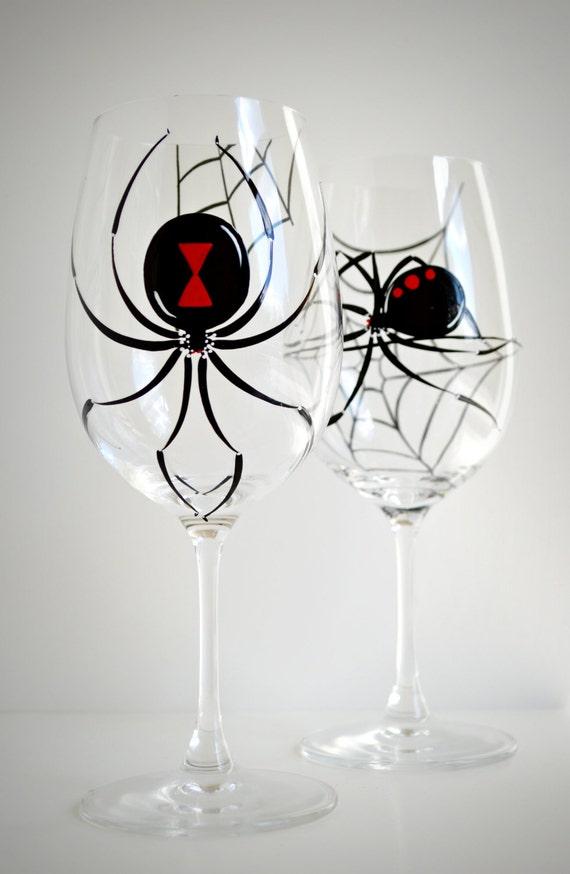 Black Widow Spider Wine Glasses -- Set of 2 Hand Painted Halloween Glasses