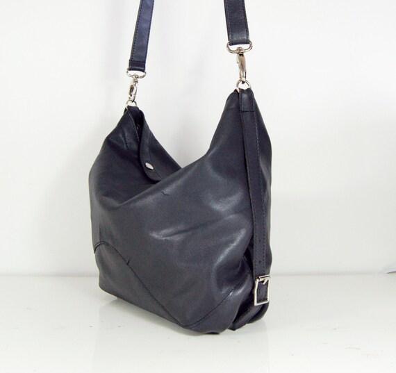 Amelia, Handmade Grey Leather Hobo, Shoulder Bag.