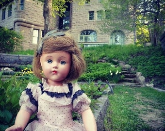 Haunted Doll, Pink Dress, Castle, Garden, Green Glass Eyes, Still LIfe.Close up, By Paper-Mâché Dream Photography,fPOE