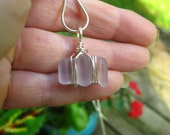 Lavender petite glass pendant, seaglass inspired vintage glass pendant wired wrapped and whimsical