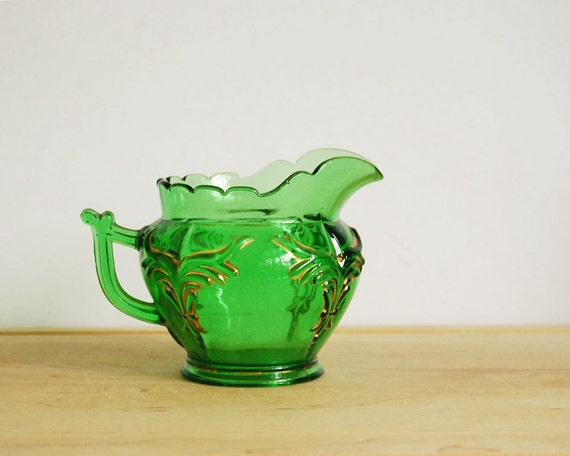 Antique Creamer Heisey Emerald Green Winged Scroll Vintage Creamer Victorian Pressed Glass St. Patricks Day Collectibles