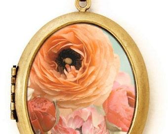 Flower Locket - Pastel Ranunculus - Pretty Feminine Ranunculus Flower Bouquet Photo Locket Necklace