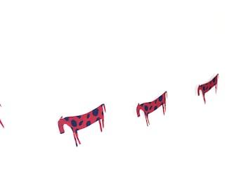 Diy kit - Paper Garland Bunting    RED COWS