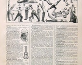 Gym, Exercises - Antique French Dictionary Book Page -  1908 Larousse