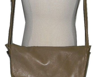 Vintage Enny leather Handbag, in taupe, softest leather Enny Italia, Made in Italy