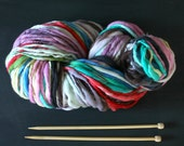 SPUN TO ORDER  single scoop .. rainbow yarn, handspun yarn, merino wool, knitting, super bulky, thick and thin, colorful hand dyed