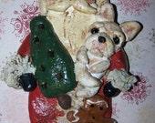 Custom Order Folk Art Santa Claus with Your Breed of Dog Primitive Vintage Nostalgic Ornament Doll