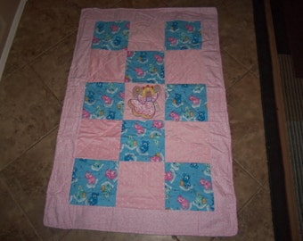 Cutest Soft angel and teddy bear applique baby blanket toddler girl quilt minky flannel REVERSIBLE