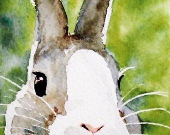INSTANT large DOWNLOAD Bunz watercolour rabbit  bunny painting digital file