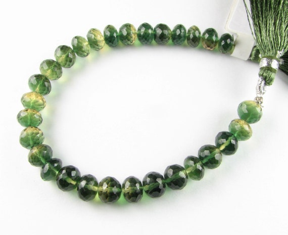 Unusual Lemon and Green Quartz Luxe AAA Faceted Rondelle Gemstone Beads 8mm (4 pieces)