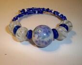 Blue Flower Wrap Bracelet with LampWork Glass Beads on Memory Wire