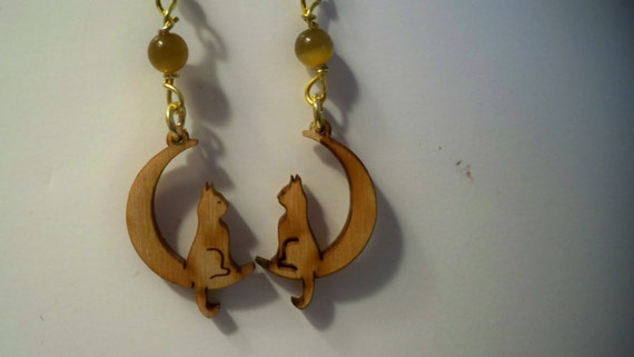 Moon Cat Wood Earrings Carved from Baltic Birch