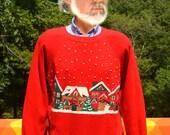 vintage 80s sweatshirt CHRISTMAS glitter crazy xmas raglan crew neck sweater Medium red snowflake