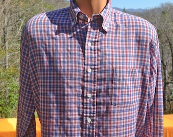 vintage 70s shirt plaid SOFT thin button down preppy hipster red blue Large phoenix 80s