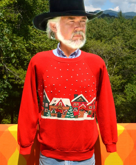 vintage 80s sweatshirt CHRISTMAS glitter crazy xmas raglan crew neck sweater Medium red snowflake