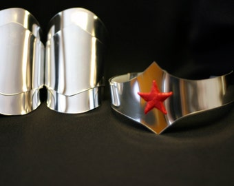 Wonder Woman New 52 Style Silver Cuff bracers and Tiara with star costume cosplay accessories