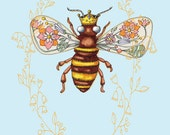 Queen Bee Print of Original Illustration with Love the Bees Saying