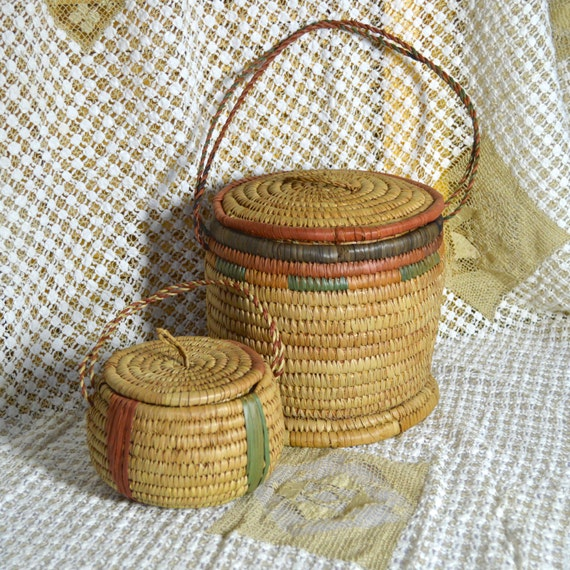 African Baskets With Lids: Pair Tribal African Baskets With Handles And Tight Fitting