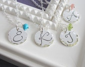 4 Initial necklaces, hammered disc, letter necklace, silver initial, personalized, custom birthstone necklace, bridesmaid necklace gift set