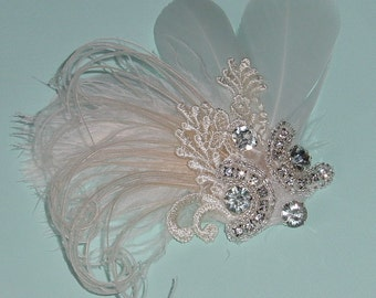 Clearance - Feather Fascinator Headpiece Ivory n Champagne  - Ready to Ship