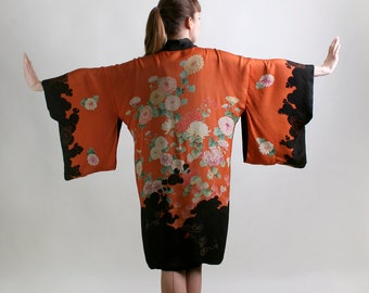 Vintage Silk Kimono - Rust Orange Botanical Floral Print