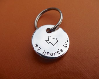 My Heart's In Texas Keychain - My Heart's In - State Jewelry - Hand stamped Circle Key Chain Accessory