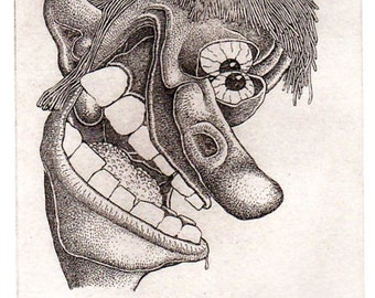 "BASIL WOLVERTON ""BARFLIZE"" # 24 ~ Genuine Hand Crafted / Pulled Limited Edition Fine Art Print Etching Signed and Numbered."