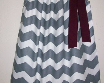Pillowcase Dress, Texas A and M, Chevron dress, Texas Aggies, Grey and Maroon, College Football, Game Day dress, Girls Dresses, Sports Dress