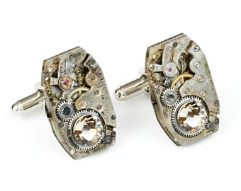 Steampunk Cufflinks with Matched Silver Large Rectangular Vintage Watch Movements and Sparkling Grey Swarovski Crystals by Velvet Mechanism