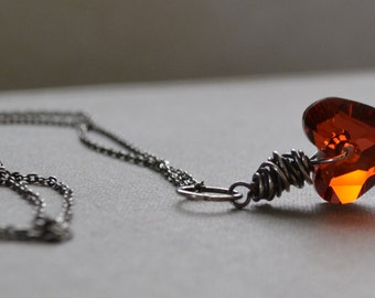 Red Heart Necklace, Heart Pendant Oxidized Sterling Necklace, Wire Wrapped Red Magma Swarovski Wild Heart Pendant, Sterling Silver