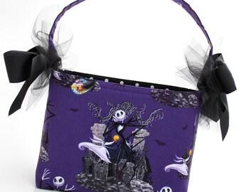 Boutique Halloween Trick or Treat Basket bag bucket skeleton nightmare READY TO SHIP