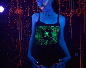 Glow in the Dark Spider and Spiderweb Tank Top Size Small, Medium, Large or Extra Large