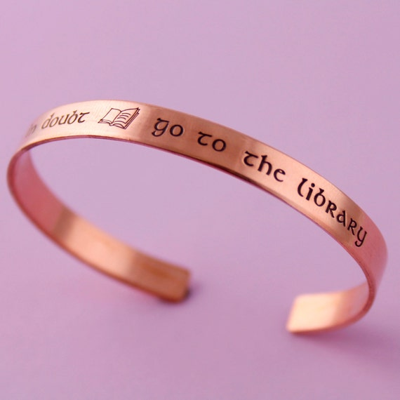 Harry Potter Bracelet - When in Doubt Go To the Library - Hermione Bracelet - Hand Stamped Cuff Bracelet