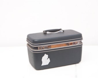 Upcycled Samsonite Train Case with Hand Painted Michigan Silhouette