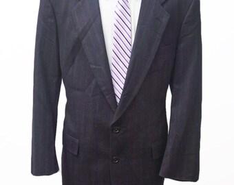 Men's Blazer / Vintage Christian Dior Jacket / Midnight Blue Sport Coat / Size 46 Large-XL