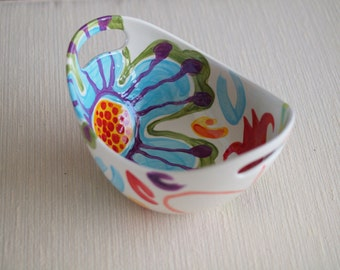 Bowl READY to SHIP Colorful Bowl Boho Bowl Snack Serving Jubilation Large Handle Bowl  Colorful Pottery Happy Birthday Gift Hostess Gift J