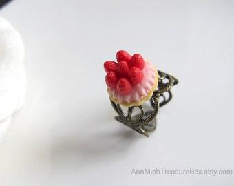 French Dessert Sweet Strawberry Delight. Cherry Pink Creme Tart Dessert Food Miniature Victorian Heart Filigree Adjustable Ring