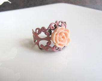 Spring Jewelry. Peach Rose Flower Ring. Pink Painted Patina Vintage Inspired Filigree Ring.Pink  Floral accessory