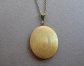 Vintage brass locket necklace, oval photo locket, engraved design floral