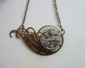 Steampunk necklace, vintage watch parts - brass wing, Botanical Bird original design